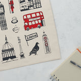 London icons Canvas shopper bag, London bus, big ben, Oxo Tower, post box, taxi, telephone box, hand made in Britain, Victoria eggs,