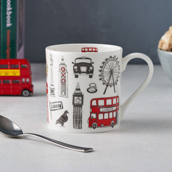 London icons Mug, London bus, big ben, Oxo Tower, post box, taxi, telephone box, fine bone china mug, hand decorated, made in Britain, Victoria eggs,