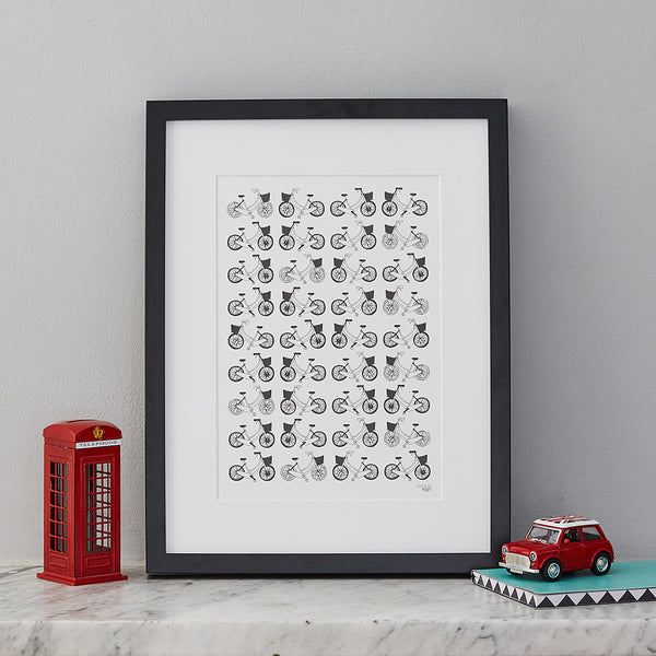 Hand-illustrated wall print, repeat print featuring bicycles, London bicycles print, Victoria Eggs bicycle print, Black and White Bicycle print, wall print featuring repeating bicycle print