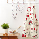 Christmas apron featuring traditional Christmas icons in red and charcoal, Unisex kitchen Christmas apron featuring Christmas designs, Women's Christmas apron with traditional Christmas designs, Men's Christmas apron with hand illustrated Christmas icons, Christmas apron featuring a wreath and Santa's sleigh, Christmas apron featuring a candy cane and a Christmas tree