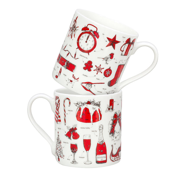 Fine bone china Christmas mug featuring repeating Christmas icon design, Fine china Christmas mug featuring various Christmas icons such as snowflakes and Santa's sleigh, Hand illustrated Christmas designs printed on fine bone china mug, Red and charcoal