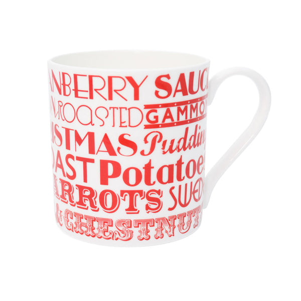 Fine bone china mug featuring repeating design of traditional Christmas dinner items, Red fine china mug featuring Christmas dinner items, Small fine bone china mug featuring Christmas dinner items, Mug featuring red typography of traditional Christmas me
