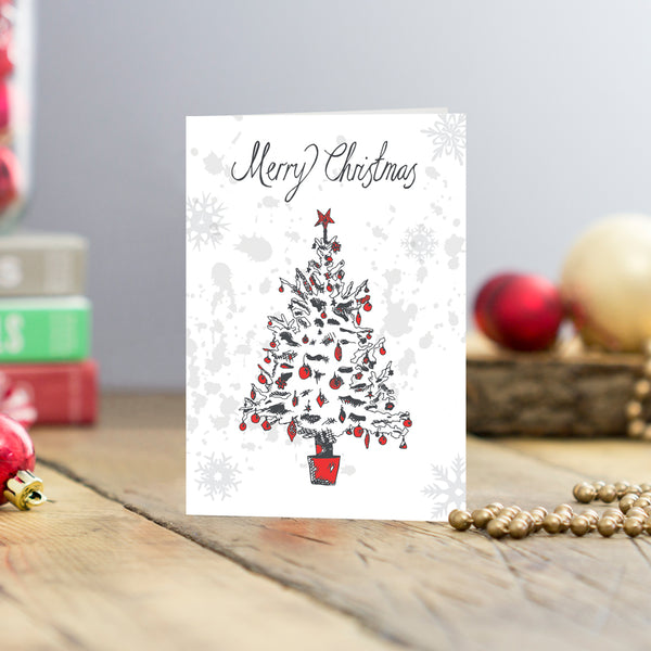 Set of five Christmas tree greeting card set, Red and charcoal Christmas tree card set, Christmas card set featuring Christmas tree and Merry Christmas script, Merry Christmas greeting card set featuring Christmas tree, Hand illustrated Christmas tree greeting card set of five