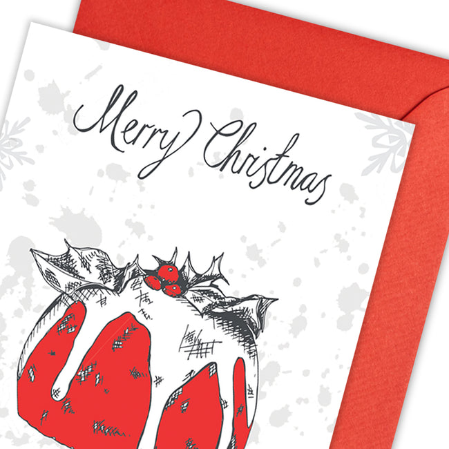 Christmas Pudding Greeting Card - pack of 5
