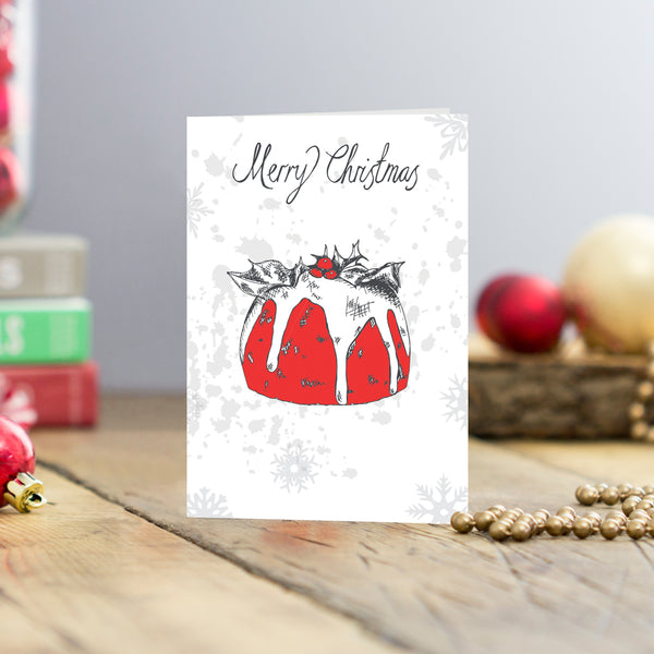 Set of five Christmas cards featuring Christmas pudding and charcoal Merry Christmas scrip, Greeting card set featuring Christmas pudding, Hand illustrating Christmas greeting cards with charcoal and red Christmas pudding design, Merry Christmas greeting card set with Christmas pudding illustration