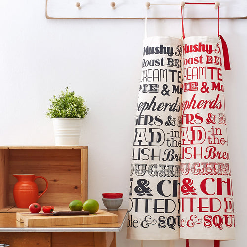 Kitchen apron featuring classic English dinner meals design, Kitchen apron with traditional British meals, Unisex apron featuring repeating traditional English meals, Fish and chips kitchen apron