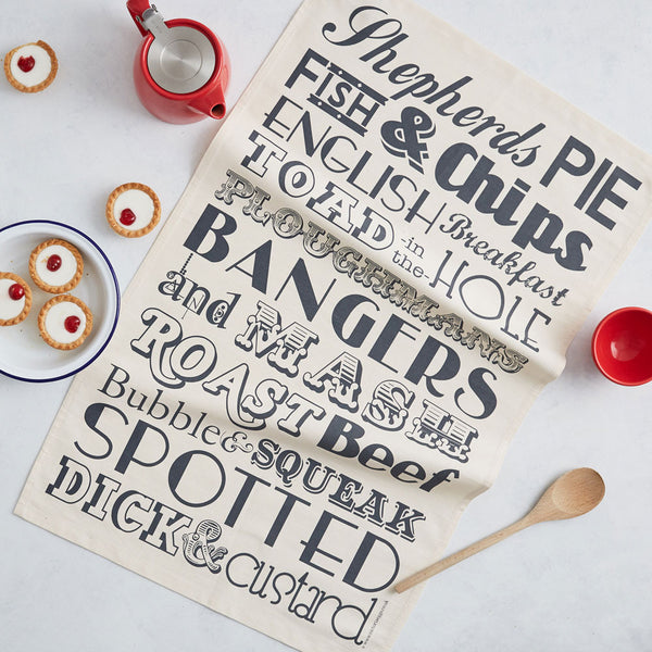 Tea towel featuring repeating pattern of traditional English dinners and meals, Kitchen towel featuring tradition English meals, Dish towel featuring charcoal design of English meals