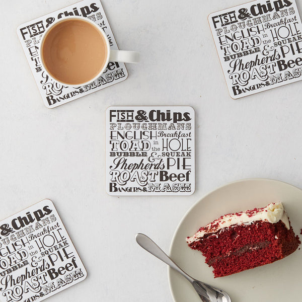 English Dinner Coaster - Set Of Four Charcoal