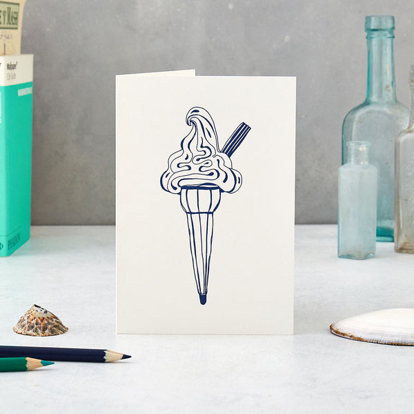 Hand-illustrated ice cream cone design greeting card in navy, Navy ice cream cone design greeting card, Summer greeting card featuring ice cream cone design