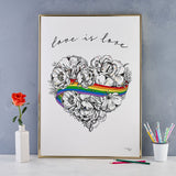 Love is Love, LGBTQ, Gay Pride, A3 print, A4 print, giclee print, wall art, digital print, rainbow, heart, roses, hand decorated, handmade in Britain, Victoria Eggs. Rainbow, roses, heart shaped, illustration.