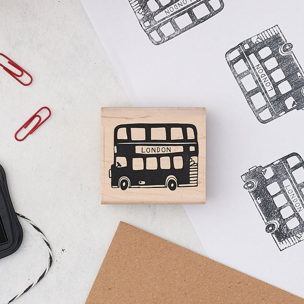 Rubber London Bus stamp, Double decker bus stamp, London Bus Stationary stamp, Bus children's rubber stamp, London Bus scrapbooking stamp