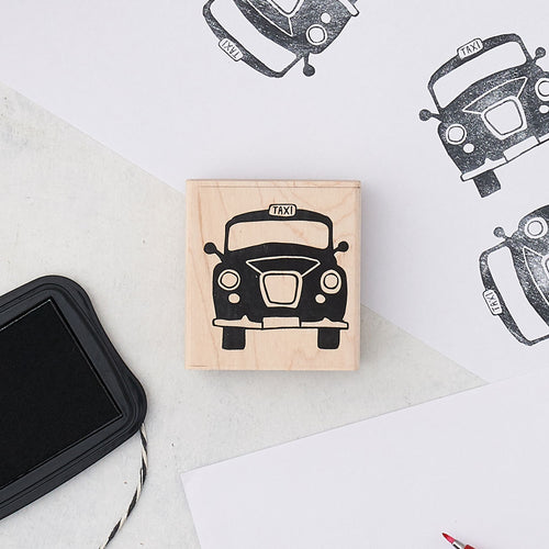 Large black taxi rubber stamp, London taxi rubber stamp, Black cab rubber stamp, Taxi cab stationary stamp, London black cab stamp for stationary, Iconic London rubber stamp