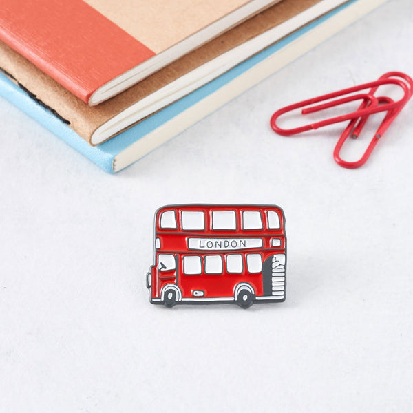 Red double decker London Bus pin, Iconic London Bus pin, Double decker bus pin from London, Victoria Eggs London Bus pin, Red and charcoal bus pin