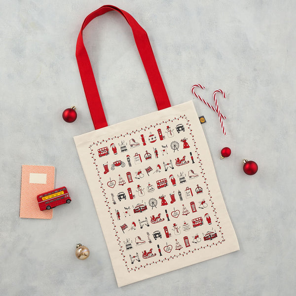 London Christmas Canvas Bag