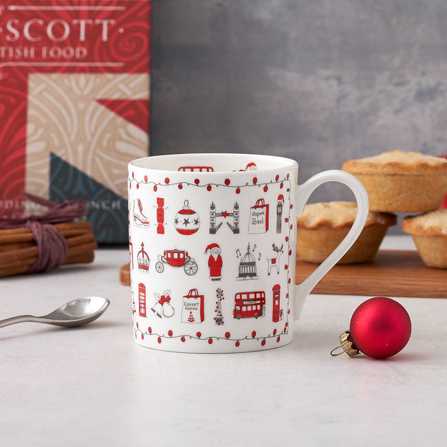 London Christmas Tea Towel, Mug and Coasters Gift Set