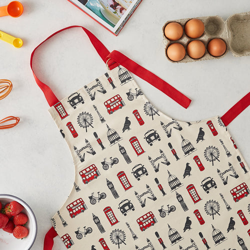 Children's London apron, Kitchen apron for children, Iconic London Apron for children, London apron for kids, Charcoal and Red children's apron, Children's London apron for baking