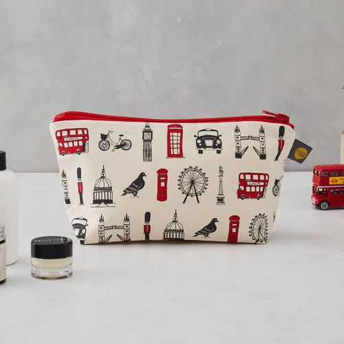 London cosmetic bag, London pencil case, London pencil case for children, Red and charcoal cosmetic bag, London themed cosmetic bag, Cosmetic bag featuring repeating London icons design, zip up London cosmetic bag, waterproof London cosmetic bag, Makeup and toiletries bag for women