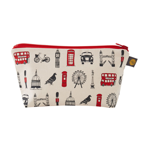London cosmetic bag, London pencil case, London pencil case for children, Red and charcoal cosmetic bag, London themed cosmetic bag, Cosmetic bag featuring repeating London icons design, zip up London cosmetic bag, waterproof London cosmetic bag, Makeup a