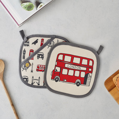 Pot grab featuring iconic London landscapes, Red London double decker bus pot grab, London kitchen accessories, Charcoal and red London pot grab, London kitchen gifts, Hand illustrated London pot grab