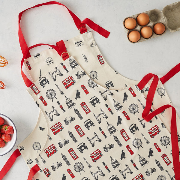 Adult and children's London apron set, made in britian