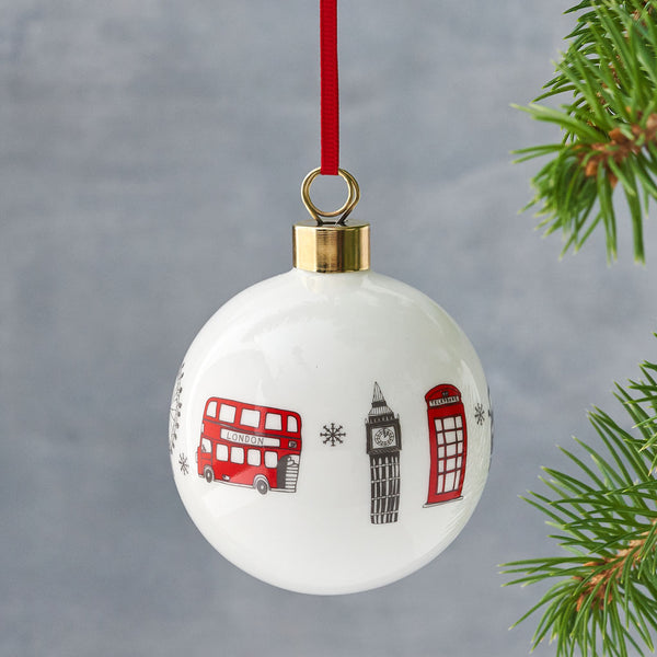 London Christmas ornament, London skyline ornament, Iconic London landscapes ornament, Iconic London landscapes bauble, London glass ornament, Charcoal and red London ornament, Charcoal and red London bauble, Bauble with repeating London design, Hand illustrated London Bauble, Hand illustrated London ornament