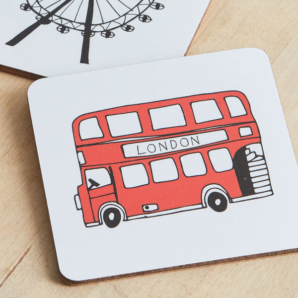 London coasters set, Iconic London coasters, set of 4 London coasters, Hand illustrated London iconic landscapes coasters, London coaster gift set, London Skyline coaster set