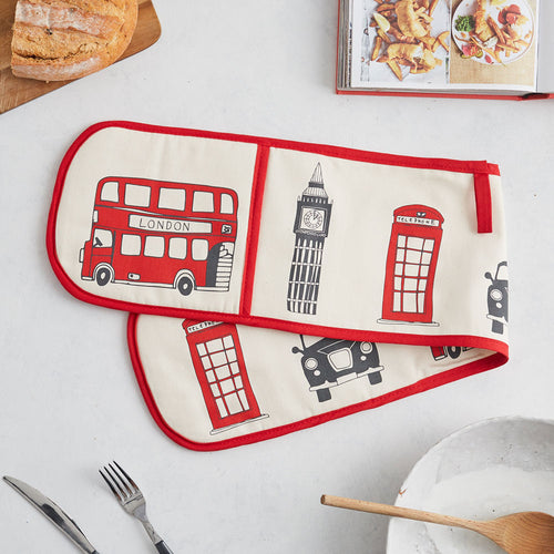 Iconic London double oven mitt, Oven glove featuring London landmarks, Red London oven glove, London kitchen accessories, Double oven glove with London landscapes, Oven glove featuring famous London icons