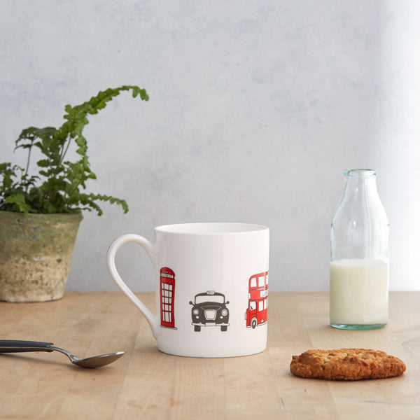 London fine bond china mug, London china mug, Mug featuring iconic London landscapes, Hand illustrated London icons mug, Simple London mug, Red London Bus mug, White China London Mug, Charcoal and Red London china mug