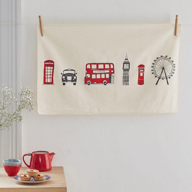London Skyline Mug & Tea Towel GIFT SET + Free Bike Card