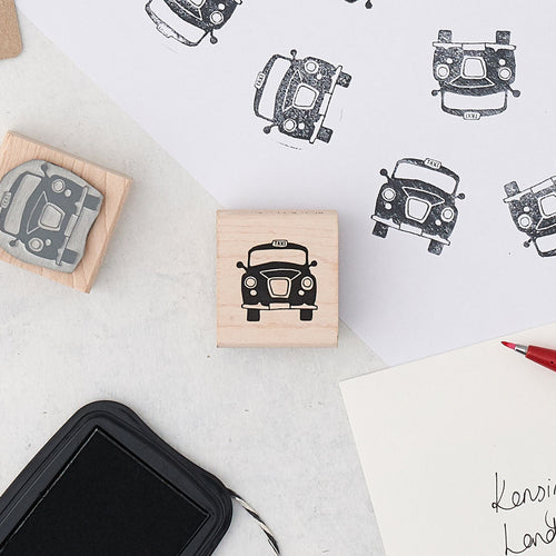 Iconic London black cab rubber stamp, Black taxi rubber stamp, London taxi stationary stamp, London black cab stamp for scrapbooking, Small taxi cab stamp