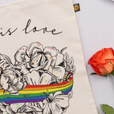 Love is Love, LGBTQ, Gay Pride, Canvas bag, tote bag, shopper bag,, rainbow, heart, roses, hand decorated, handmade in Britain, Victoria Eggs. Rainbow, roses, heart shaped, illustration.