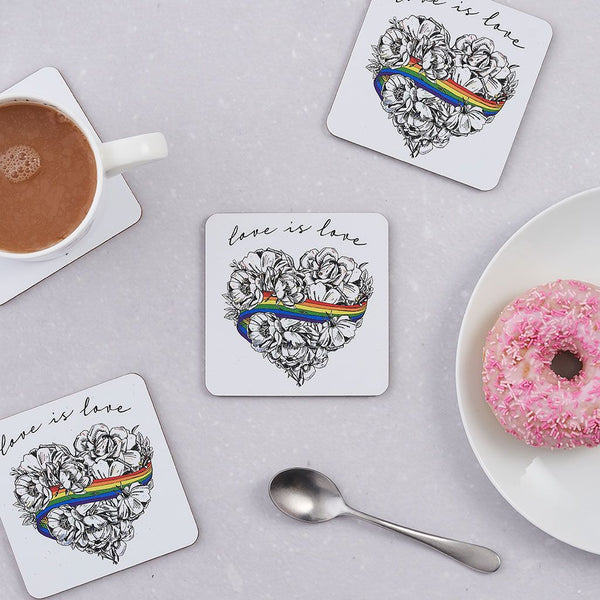Love is Love, LGBTQ, Gay Pride, coaster, cork back, rainbow, heart, roses, hand decorated, handmade in Britain, Victoria Eggs. Rainbow, roses, heart shaped, illustration.