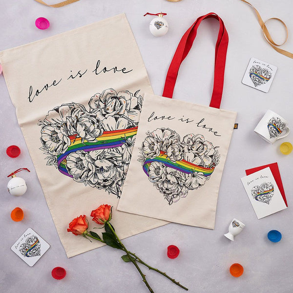 Love is Love, LGBTQ, Gay Pride bauble, decoration, ornament,, fine bone china, rainbow, heart, roses, hand decorated, made in Britain, Victoria Eggs. Rainbow, roses, heart shaped, illustration.