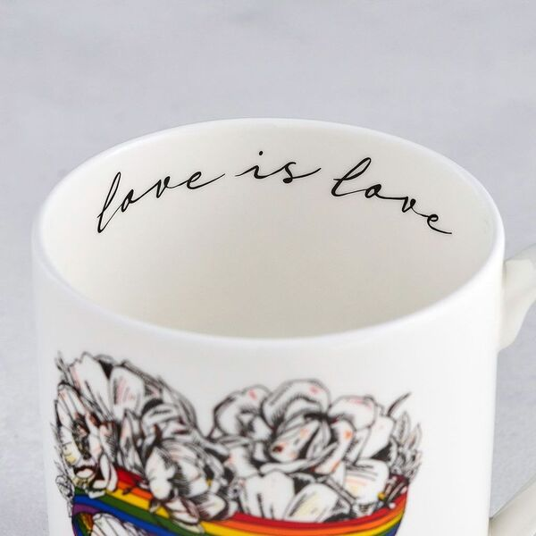 Love is Love, LGBTQ, Gay Pride mug, fine bone china, rainbow, heart, roses, hand decorated, made in Britain, Victoria Eggs. Rainbow, roses, heart shaped, illustration.