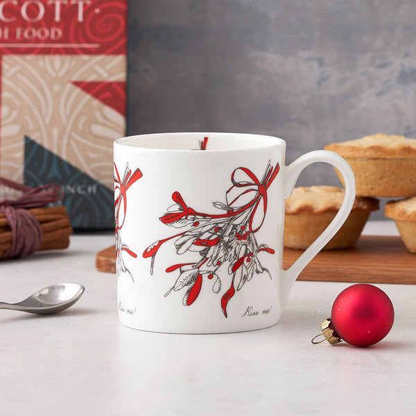 Fine bone china mistletoe mug, Fine china mistletoe Christmas mug, Christmas mug with mistletoe design, Charcoal and red mistletoe Christmas mug, Kiss me Christmas mug, Holiday mistletoe mug