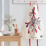 Christmas apron with mistletoe design, Kiss me Christmas apron, Unisex Christmas mistletoe apron with red strap, Men's Christmas apron with mistletoe, Women's Christmas mistletoe apron, Red and charcoal mistletoe Christmas apron, Christmas kitchen apron with kiss me design