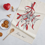 Cotton Christmas mistletoe tea towel, Tea towel featuring mistletoe and kiss me design, Hand illustrated mistletoe tea towel, Mistletoe kitchen towel, Mistletoe dish towel for Christmas, Red and charcoal mistletoe Christmas dish towel