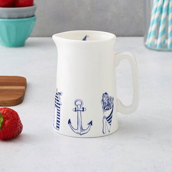 Fine bone china nautical half pint jug featuring nautical design in navy, Nautical half pint jug featuring iconic nautical designs, Navy and white kitchen half pint jug featuring nautical design