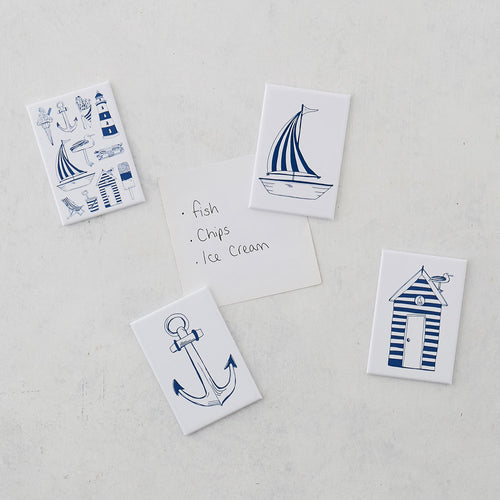 Set of four nautical magnets featuring large designs of nautical icons, Navy and white magnet set featuring nautical icons design, Set of four fridge magnet featuring nautical designs in navy and white