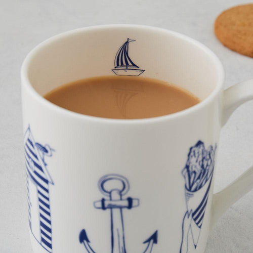 Nautical Mug & Tea Towel GIFT SET + Free Anchor Card