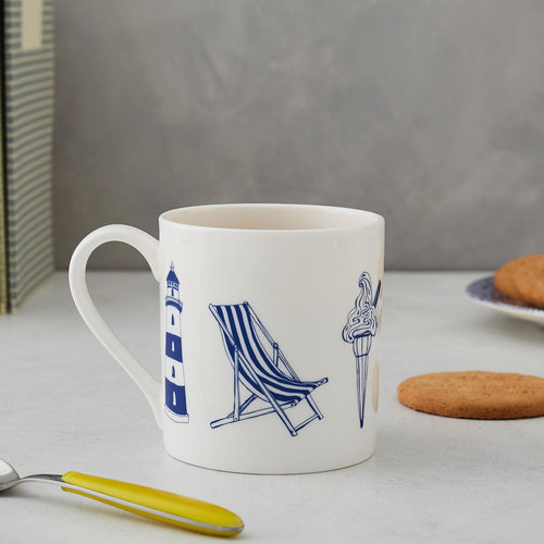 Fine bone china mug featuring nautical design in navy and white, Nautical mug featuring large nautical icons in navy and white, Fine china mug featuring nautical design in navy