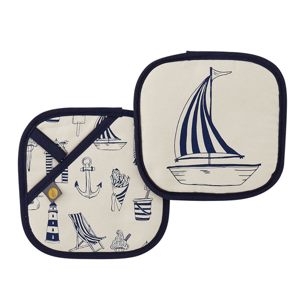 Nautical pot grab featuring repeating nautical icons design in navy, Double sided kitchen pot grab featuring large sailboat design and repeating nautical icons design in navy, Nautical navy pot grab featuring repeating pattern of nautical icons such as an
