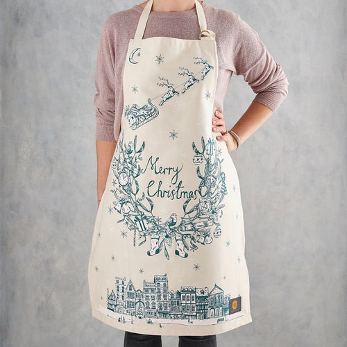 Santa and his reindeer flying over town Christmas apron, Santa delivering presents Christmas apron, Teal Christmas apron, Teal Christmas apron with Santa and his reindeer, Teal Merry Christmas apron