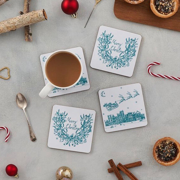 Set of four teal writing Merry Christmas coasters, Santa and his sleigh set of four coasters, Santa flying through the night sky Christmas coasters, Father Christmas and his reindeer coasters