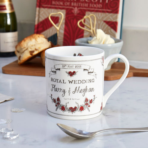 Fine bone china mug featuring royal wedding design, Fine china mug featuring hand illustrated royal wedding design, London mug featuring royal wedding design, Red and charcoal mug featuring royal wedding design