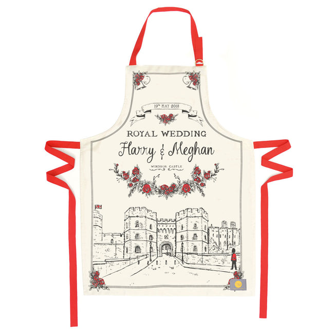 Apron featuring hand illustrated design for the Royal wedding, Royal wedding inspired kitchen apron, Red strapped Royal Wedding apron for men and women, Unisex Royal wedding kitchen apron with red strap