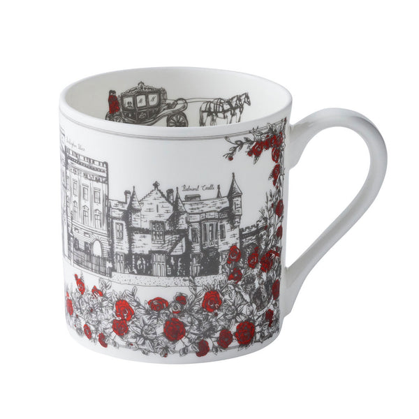 Fine bone china mug featuring design of iconic royal design, Red and charcoal fine china mug featuring Buckingham Palace, London mug featuring Buckingham palace and Windsor Castle, London mug featuring royal design and pattern in charcoal and red