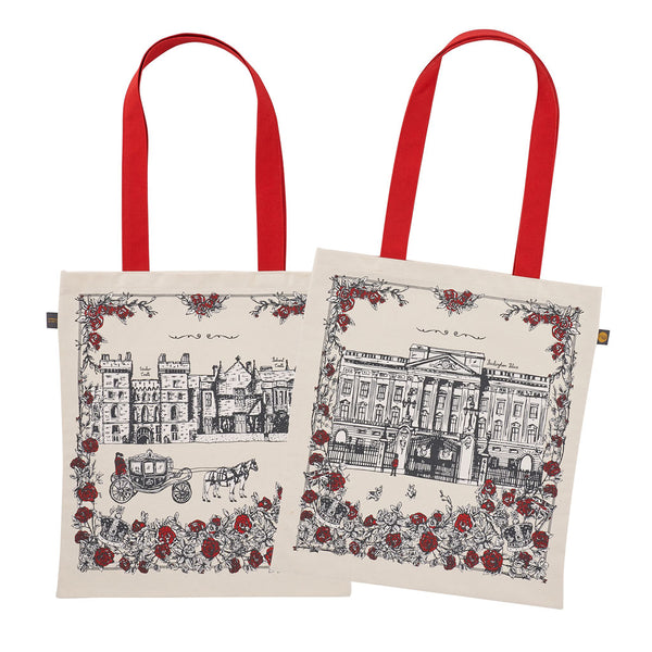 Canvas bag with Buckingham Palace design in charcoal and red, Canvas bag with red strap featuring Buckingham Palace, Canvas bag featuring iconic royal design, Charcoal and red canvas bag featuring hand illustrated royal icons