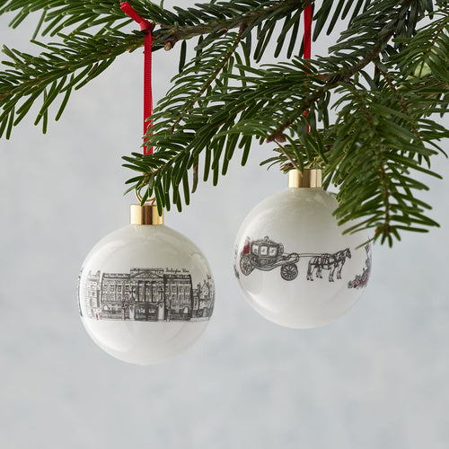Glass bauble featuring Buckingham Palace and Windsor Castle, Glass Christmas ornament featuring iconic Royal icons, Christmas ornament with hand illustrated royal favorites, Charcoal detailed Christmas baubles with Buckingham palace