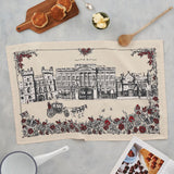 Tea towel featuring design of London's Buckingham Palace, Tea towel featuring charcoal and red Buckingham Palace design, Hand illustrated Buckingham Palace tea towel, Buckingham Palace kitchen towel, Buckingham Palace dish towel